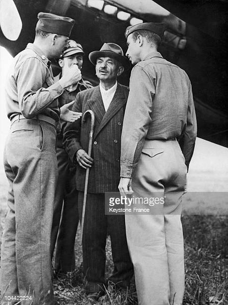 Back From Barcelona On July 31 The Former Council President Of The Vichy Regime Pierre Laval Arrived At Horshing Airport Near Linz Austria Surrounded...