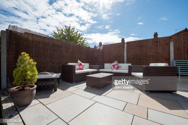 back garden exteriors - furniture stock pictures, royalty-free photos & images