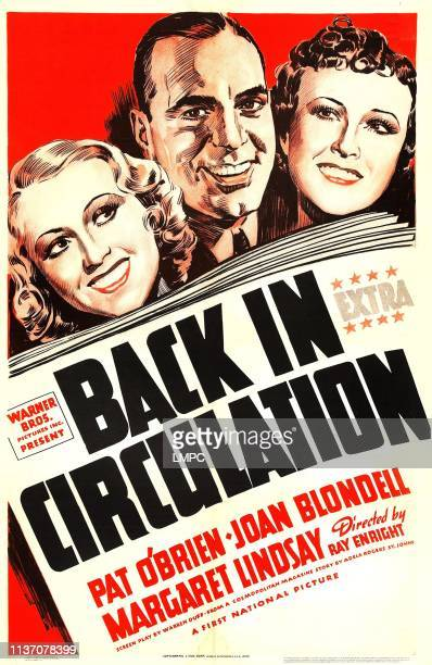 Back In Circulation poster from left on US poster art Joan Blondell Pat O'Brien Margaret Lindsay 1937