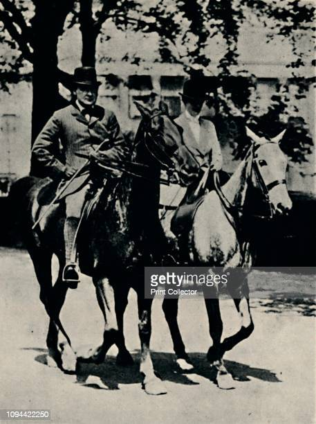 Back in England Again' . British politician and statesman Sir Winston Churchill and his wife Clementine riding in Rotten Row in Hyde Park, London....
