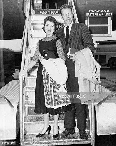 Back in New York after his marriage and fiveday honeymoon in the Virgin Islands television quiz wizard Charles Van Doren is shown stepping off of the...