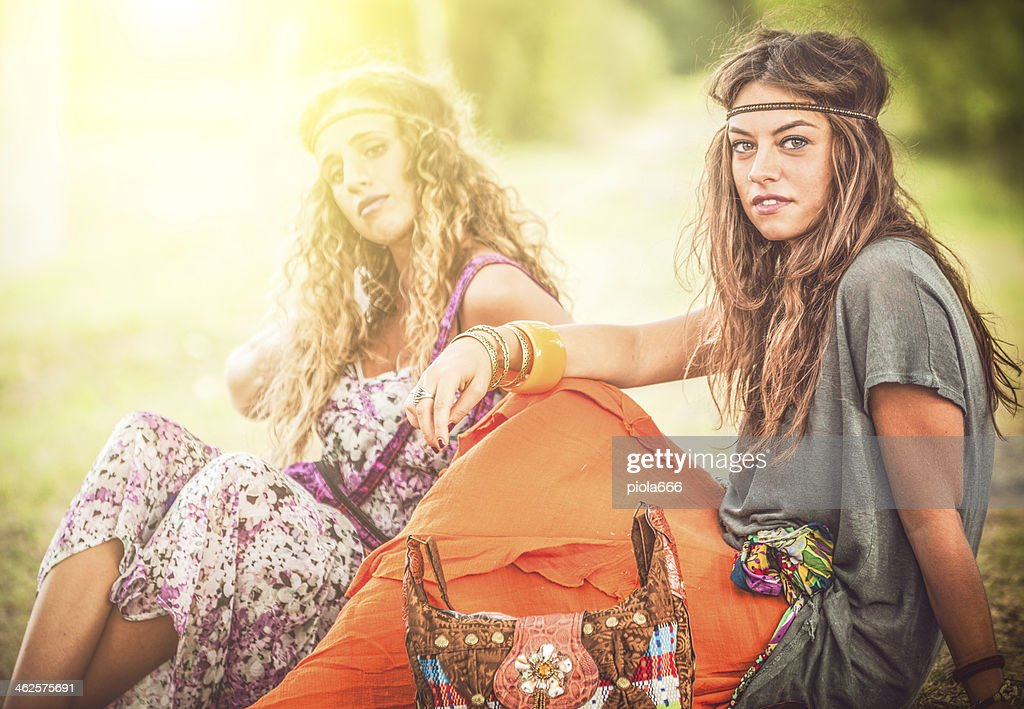 Back in the 70s: two hippie women : Stock Photo