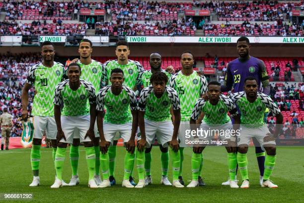 Back John Obi Mikel of Nigeria William Troost Ekong of Nigeria Leon Balogun of Nigeria Victor Moses of Nigeria Joel Obi of Nigeria Francis Uzoho of...