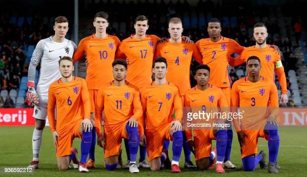 Back Justin Bijlow of Holland U21 Pelle van Amersfoort of Holland U21 Justin Hoogma of Holland U21 Rick van Drongelen of Holland U21 Denzel Dumfries...