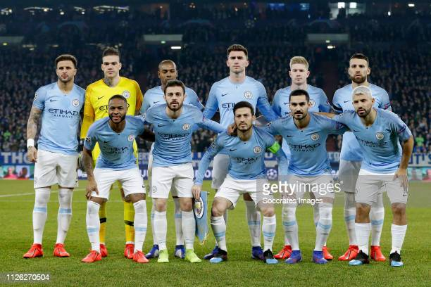 Back: Kyle Walker of Manchester City, Ederson of Manchester City, Fernandinho of Manchester City, Aymeric Laporte of Manchester City, Kevin de Bruyne...