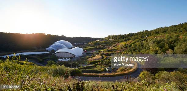Back light view with landscaping and biomes Eden Project Bodelva United Kingdom Architect Grimshaw 2016