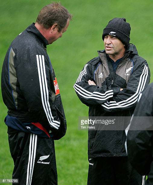 Back line coach Wayne Smith talks with skills coach Mick Byrne during a New Zealand All Blacks training session at Rugby League Park on July 2 2008...