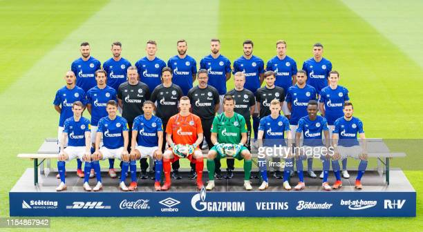 Back LR Daniel Caligiuri of Schalke Mark Uth of Schalke Fabian Reese of Schalke Guido Burgstaller of Schalke Matija Nastasic of Schalke Ozan Kabak of...