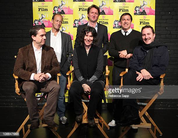 "Back LR Director Charles Ferguson of ""Inside Job"" Director Tom Hooper of ""The King's Speech"" Director David O Russell of ""The Fighter Front LR..."