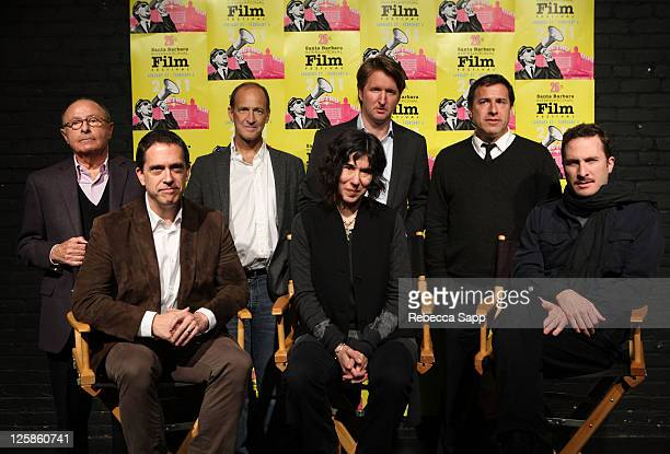 "Back LR Moderator Peter Bart Director Charles Ferguson of ""Inside Job"" Director Tom Hooper of ""The King's Speech"" Director David O Russell of ""The..."