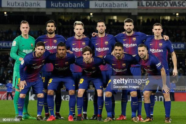 back Marc Andre ter Stegen of FC Barcelona Andre Gomes of FC Barcelona Ivan Rakitic of FC Barcelona Sergio Busquets of FC Barcelona Gerard Pique of...