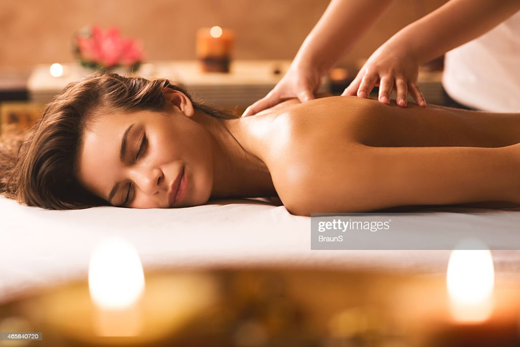 Back massage at the spa. : Stock Photo