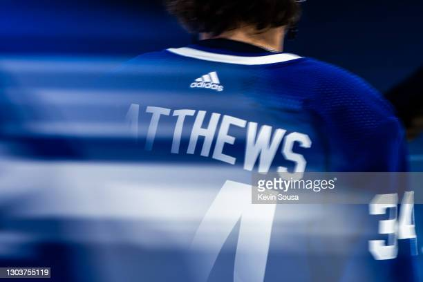 Back of Auston Matthews of the Toronto Maple Leafs jersey during warm up before a game against the Calgary Flames during the first period at the...