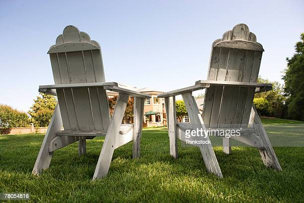 Back of chairs on lawn