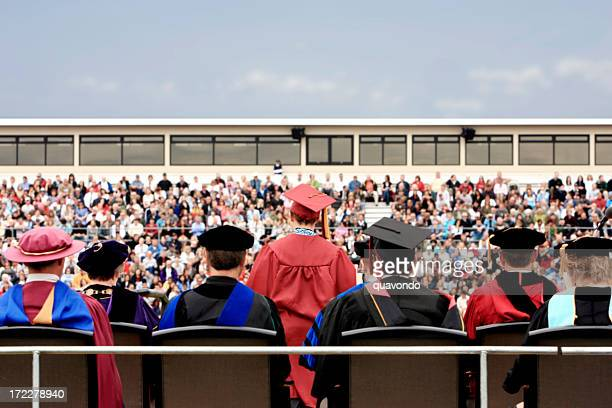 Back of College Graduation Ceremony with Crowd, Copy Space