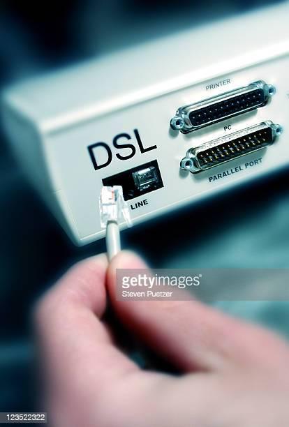 Back of DSL computer modem connection