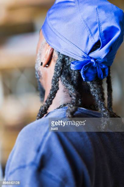 back of head, black man with dreadlocks - do rag stock pictures, royalty-free photos & images