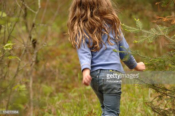 back of small child in forest - little girls bare bum stock pictures, royalty-free photos & images