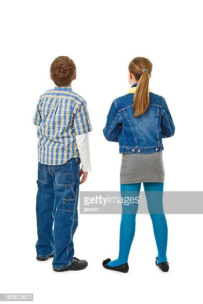 back of teenager couple - rear view stock pictures, royalty-free photos & images