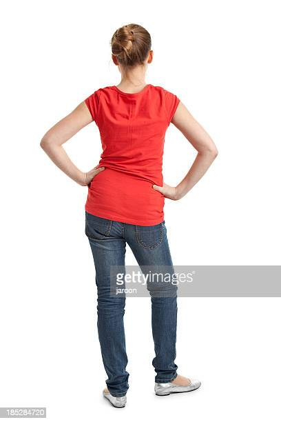 back of teenager girl in red tshirt - rear end stock photos and pictures