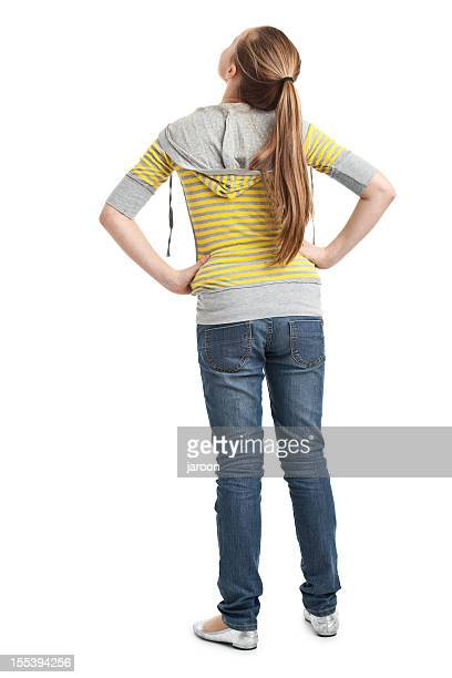 back of teenager girl - looking up stock pictures, royalty-free photos & images