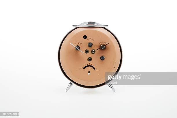 back of vintage alarm clock - pareidolia stock pictures, royalty-free photos & images