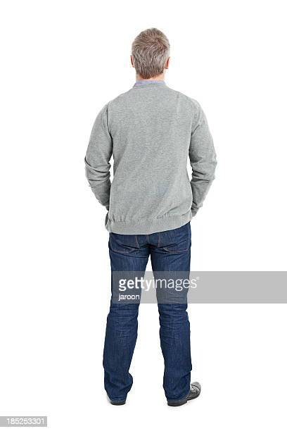 back of young adult in grey sweater - gray jeans stock pictures, royalty-free photos & images