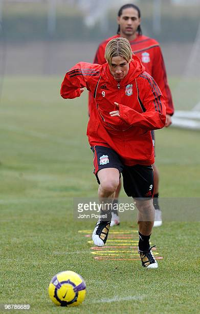Back on the ball after his injury Fernando Torres in action during a training session at Melwood Training Ground on February 17 2010 in Liverpool...