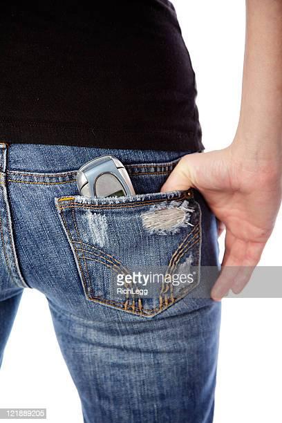 arrière avec poche pour téléphone portable - fesses femme gros plan photos et images de collection