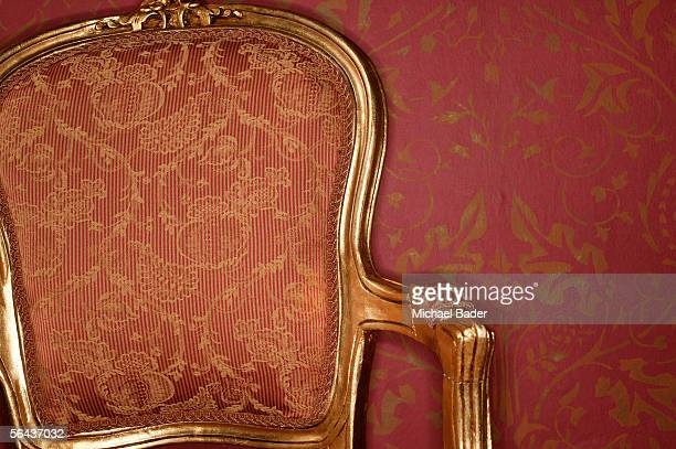 Ornate antique armchair, close-up