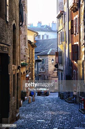 Back Road In Old Town Geneva Switzerland Stock-Foto