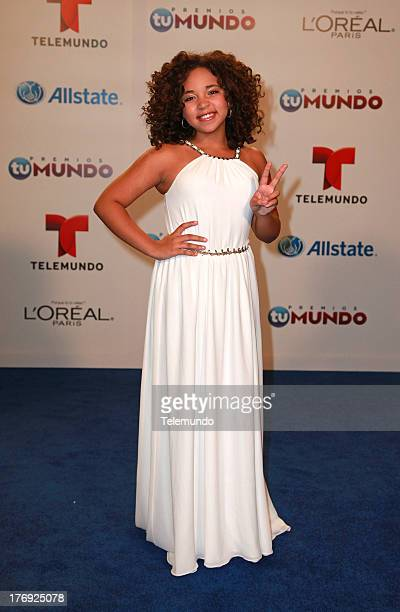 Performer Paola Guanche backstage during the 2013 Premios Tu Mundo from the American Airlines Arena in Miami Florida August 15 2013