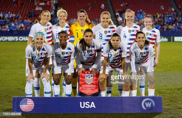 Abby Dahlkemper Megan Rapinoa Alyssa Naeher Lindsey Horan Becky Sauerbrunn and Rose Lavelle of USA Front Row Julie Ertz Crysta DunnAlex Morgan Tobin...