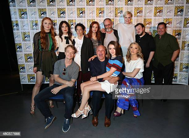 Back row actresses Sophie Turner Carice van Houten executive producer Carolyn Straus actors Hannah Murray Liam Cunningham Gwendoline Christie and...