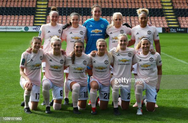 Back Row Aimee Palmer Kirsty HansonSiobhan Chamberlain Alex Greenwood and Lauren James of Manchester United Women Front Row Lizzie Arnot Mollie Green...