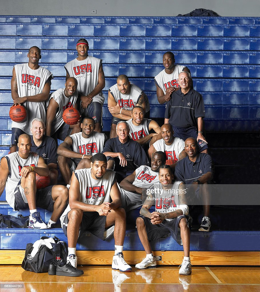 Amare Stoudemire, Lamar Odom, Carmelo Anthony, Carlos Boozer, Dwyane Wade, Assistant Coach Roy Williams; Middle row: Richard Jefferson, Assistant Coach Gregg Popovich, Emeka Okafor, Coach Larry Brown, Shawn Marion, Stephon Marbury; Front row: Tim Duncan, LeBron James, Allen Iverson, and Assistant Coach Oliver Purnell.