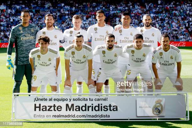 Back row: Areola of Real Madrid, Sergio Ramos of Real Madrid, Toni Kroos of Real Madrid, Sergio Ramos of Real Madrid, Casemiro of Real Madrid, Karim...