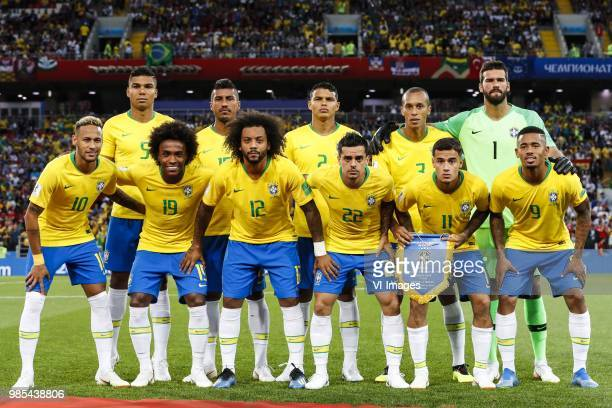 back row Casemiro of Brazil Paulinho of Brazil Thiago Silva of Brazil Miranda of Brazil goalkeeper Alisson of Brazil front row Neymar of Brazil...
