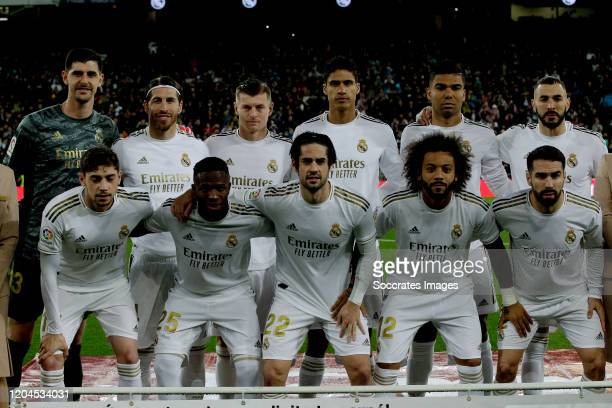 Back Row Courtois of Real Madrid Sergio Ramos of Real Madrid Toni Kroos of Real Madrid Raphael Varane of Real Madrid Casemiro of Real Madrid Karim...