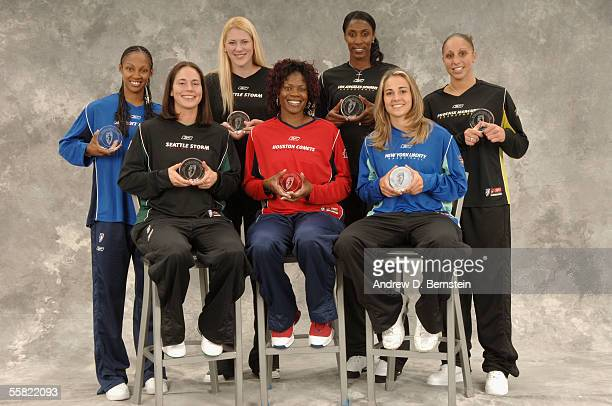 Back row Deanna Nolan of the Detroit Shock Lauren Jackson of the Seattle Storm Lisa Leslie of the Los Angeles Sparks and Diana Taurasi of the Phoenix...