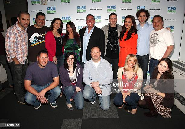 Back row Deena Nicole Cortese Elvis Duran and Vinny Guadagnino with the Z100 morning show team visit 'The Elvis Duran Z100 Morning Show' at Z100...