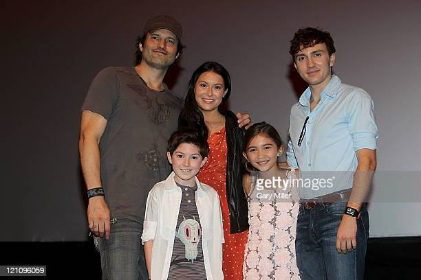 back row Director Robert Rodriguez actors Alexa Vega Daryl Sabara front row Mason Cook and Rowan Blanchard pose after a QA during the premiere of...