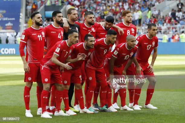 back row Dylan Bronn of Tunisia Yassine Meriah of Tunisia goalkeeper Farouk Ben Mustapha of Tunisia Syam Ben Youssef of Tunisia Ferjani Sassi of...