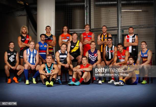 Back Row Dyson Heppell of the Bombers, Taylor Walker of the Crows, Phil Davis of the Giants, Tom Lynch of the Suns, Jarryd Roughead of the Hawks,...