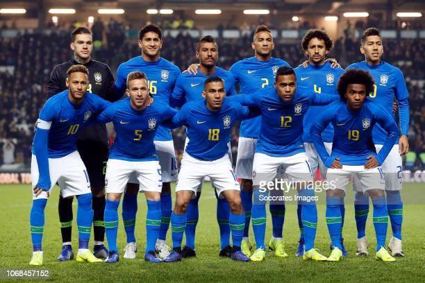 back row Ederson of Brazil Pablo of Brazil Paulinho of Brazil Danilo of Brazil Marquinhos of Brazil Roberto Firmino of Brazil front row Neymar of...