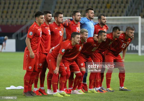 Back row: Eljif Elmas, Egzon Bejtulai, Arijan Ademi, Darko Velkoski, Stole Dimitrievski and Goran Pandev, front row: Enis Bardi, Egzijan Alioski,...