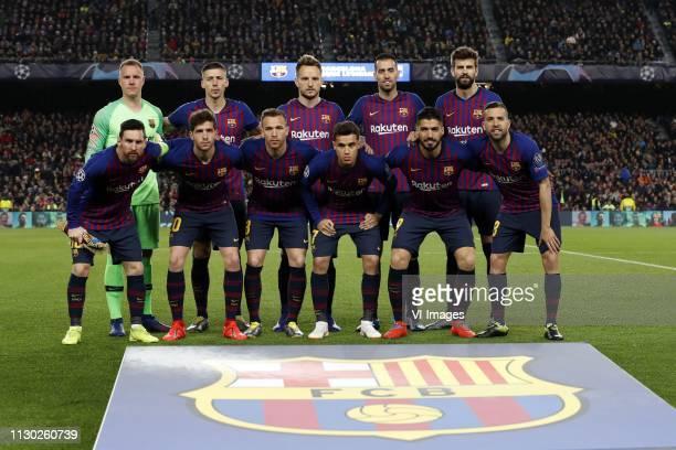back row FC Barcelona goalkeeper MarcAndre ter Stegen Clement Lenglet of FC Barcelona Ivan Rakitic of FC Barcelona Sergio Busquets of FC Barcelona...