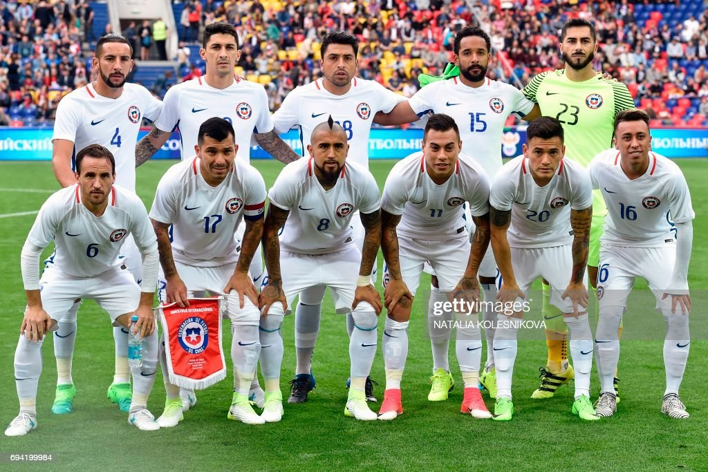Chile's defender Mauricio Isla, Chile's midfielder Pablo Hernandez, Chile's defender Gonzalo Jara, Chile's defender Jean Beausejour, Chile's goalkeeper Johnny Herrera, front row from