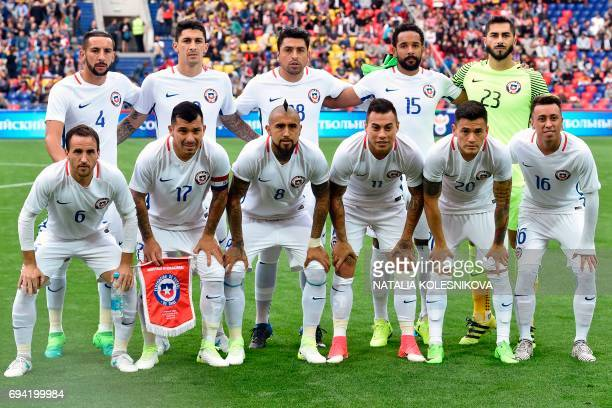 Chile's defender Mauricio Isla Chile's midfielder Pablo Hernandez Chile's defender Gonzalo Jara Chile's defender Jean Beausejour Chile's goalkeeper...
