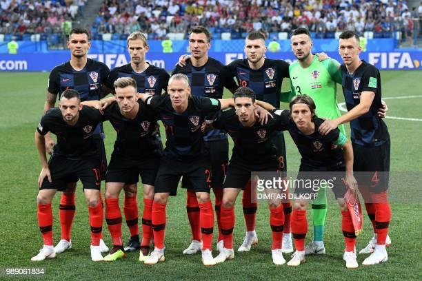 Croatia's defender Dejan Lovren defender Ivan Strinic forward Mario Mandzukic forward Ante Rebic goalkeeper Danijel Subasic forward Ivan Perisic...
